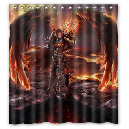 Ganma Might magic heroes vi inferno Shower Curtain Polyester Fabric Bathroom Shower Curtain 60x72 (Heroes Of Might And Magic 3 Creature Amounts)