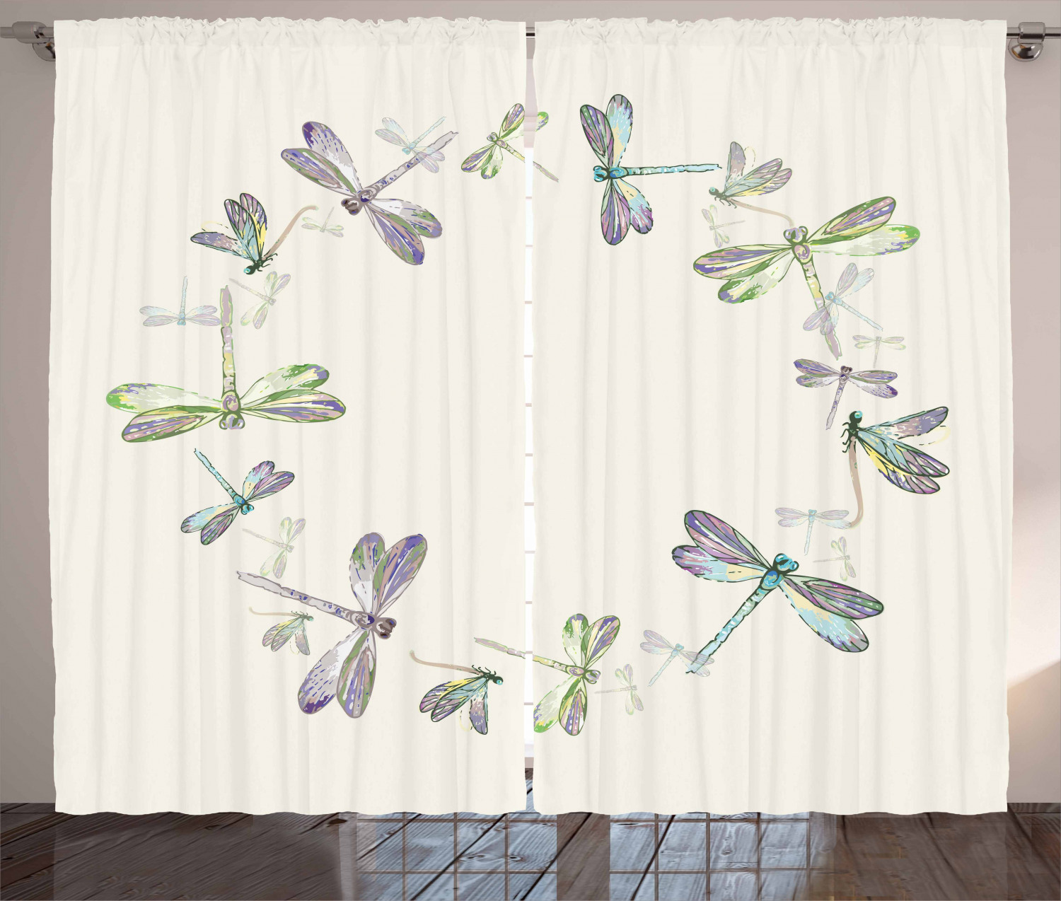 Dragonfly Curtains 2 Panels Set Dragonflies In Circular Formation Hand Drawn Woodland Animals With Retro Effect Window Drapes For Living Room Bedroom 108w X 84l Inches Multicolor By Ambesonne Walmart Com