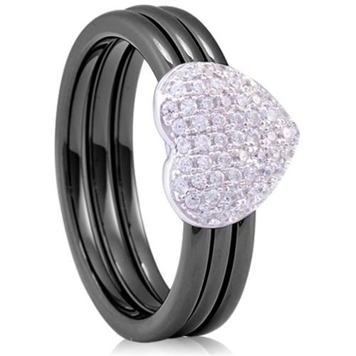 Doma Jewellery MAS02104-5 Sterling Silver Ring with 3 bands of Ceramic & Cubic Zirconia - Size 5