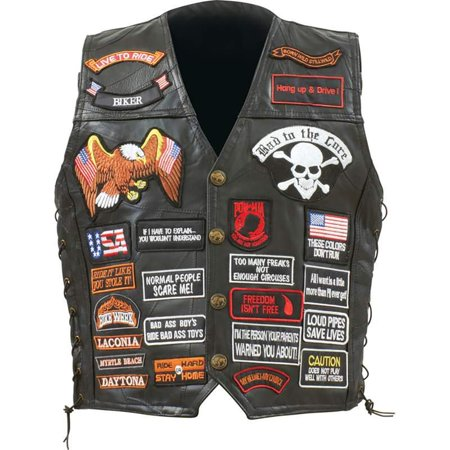 Biker Vest Lace-Up Buffalo Leather Motorcycle USA Flag Eagle w/ 42 Patches (2XL)