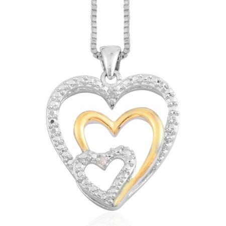 Round Diamond Silvertone and Goldtone Love Heart Valentines Pendant Necklace 18