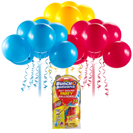 Bunch O Balloons Self-Sealing Latex Party Balloons, Red, Blue, & Yellow, 11in, 24ct](Gas For Balloons Party)
