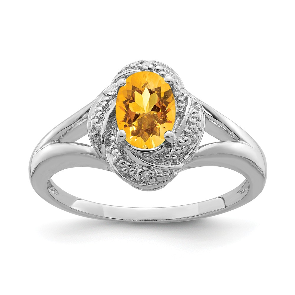 Fancy Yellow Diamonds Yellow Rhodium  Platinum over 925 Sterling Silver Ring Signed JS Size 5