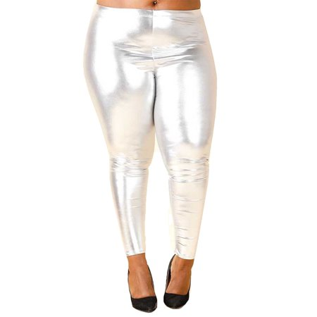 45bad9ea6fabf Genx - Womens Plus Size Stretch Funky Metallic Disco PU Leggings Pants  GNP3888 (XL, Silver) - Walmart.com