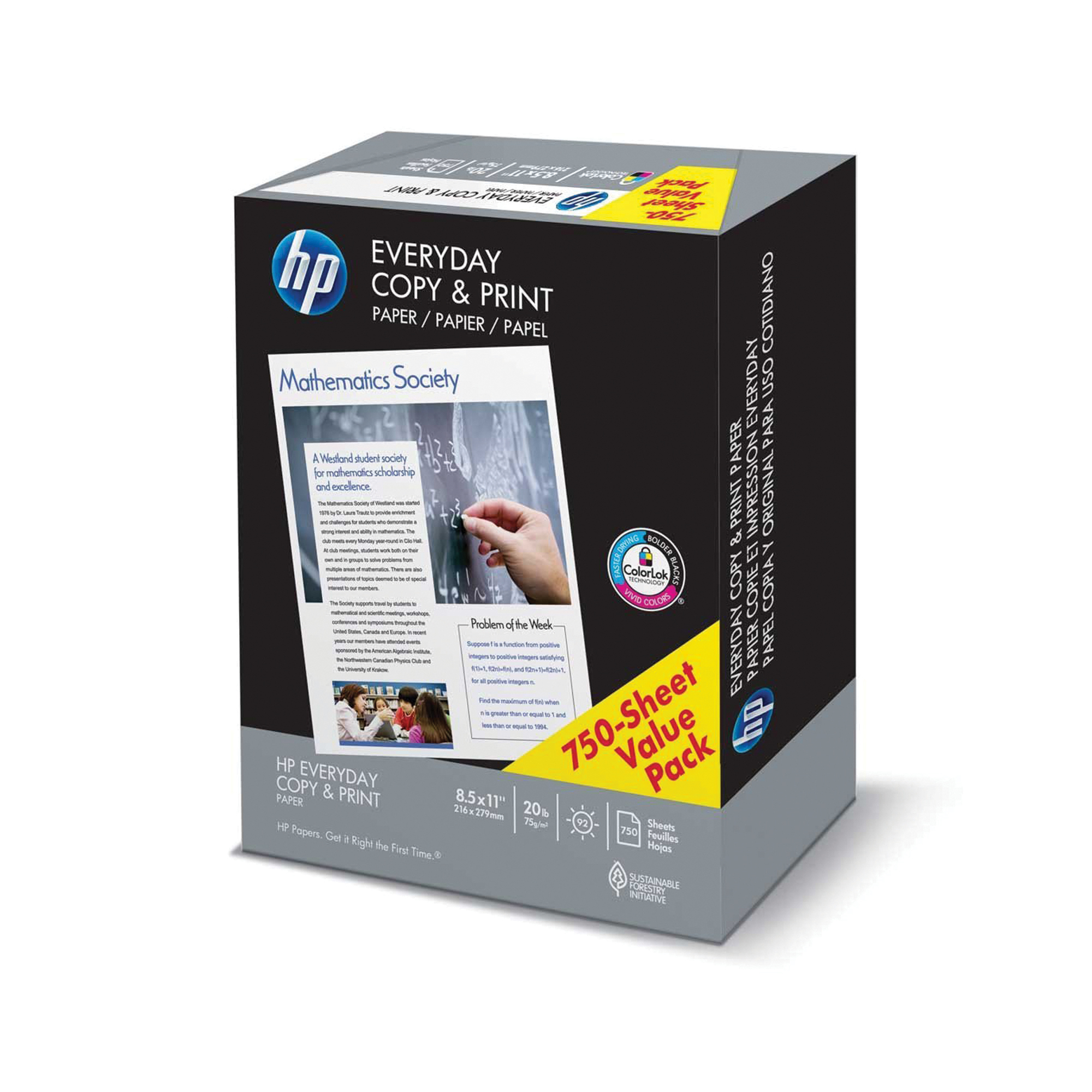 HP Paper, Everyday Copy and Print Poly Wrap, 20lb, 8.5 x 11, Letter, 92 Bright, 750 Sheets / 1 Ream (200030R)