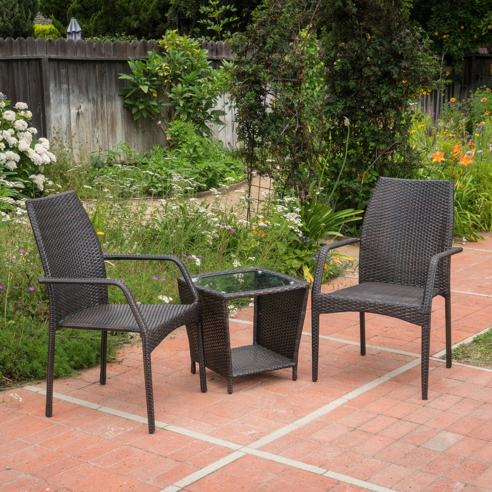 Cookton Wicker 3 Piece Outdoor Stacking Chair Chat Set