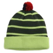 Aquarius Boys Colorful Knit Striped Green Beanie Pom Pom Hat Stocking Cap