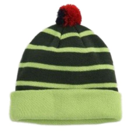 41d70f483 Aquarius Boys Colorful Knit Striped Green Beanie Pom Pom Hat Stocking Cap