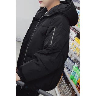 Men Casual Winter Thick Padded Hooded Jacket