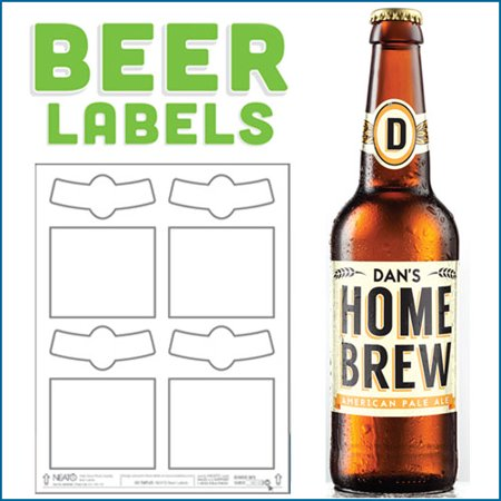 Blank Beer Labels - White, High Gloss - Water Resistant - White - For Inkjet Printers - 40 Labels - 10 Sheets](Beer Labels)