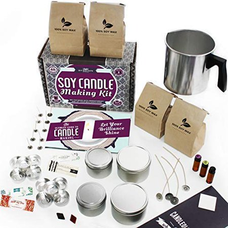 DIY Gift Kits Soy Candle Making Kit - for Adults (49-Piece Set) Become A Candle Maker Kit w/Wax, Wicks, Tin Containers, Essential Oils, Color Sticks | Creates Colorful, Large Scented (Making Scent)
