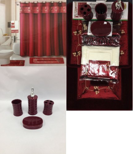 22 Piece Bath Accessory Set Burgundy Red Bath Rug Set + Shower Curtain & Accessories by