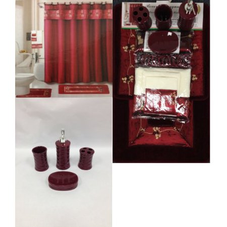 Piece Bath Accessory Set Burgundy Red Bath Rug Set Shower - Bathroom rug sets walmart for bathroom decor ideas