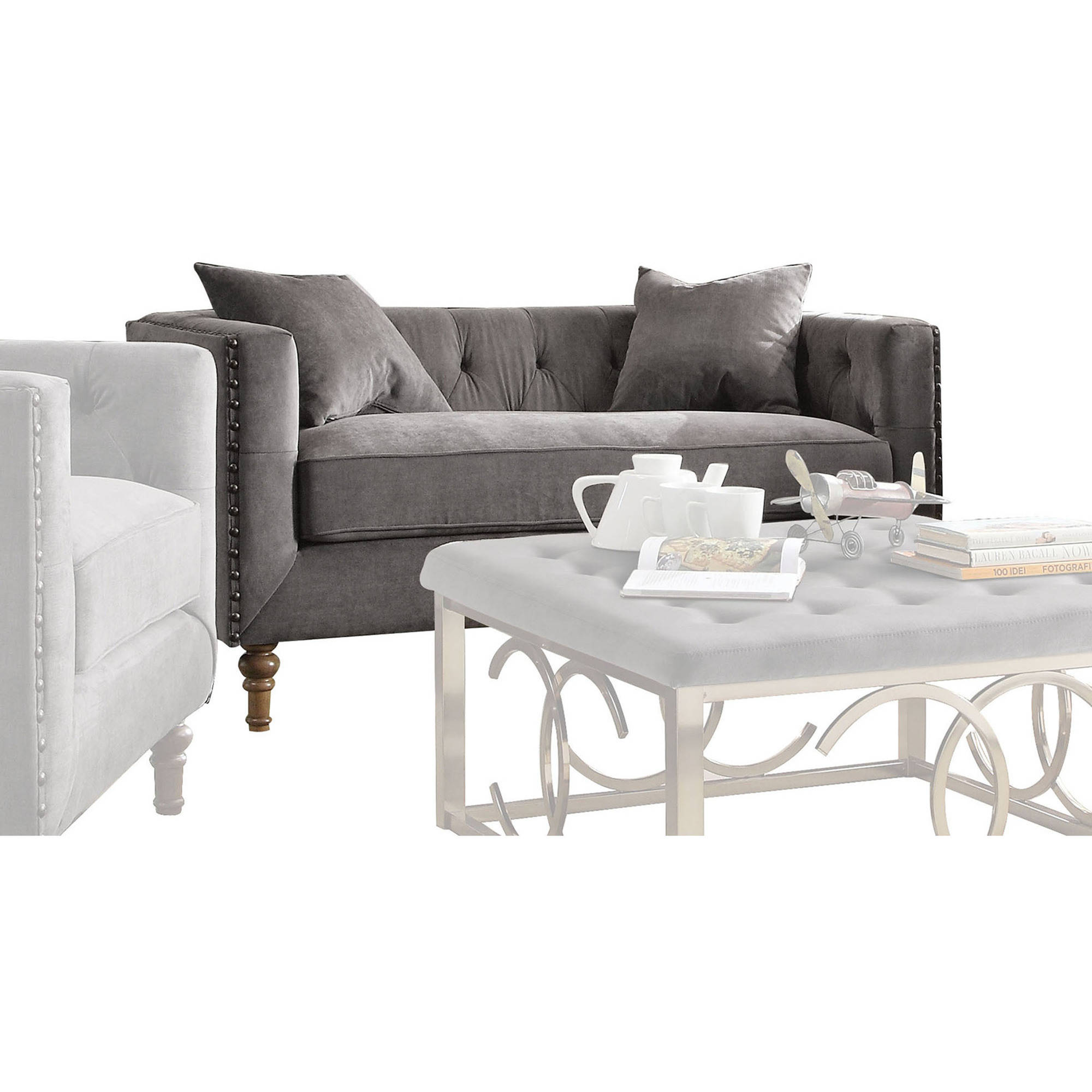 ACME Sidonia Down Feather Filled Loveseat with 2 Pillows, Grey Velvet by