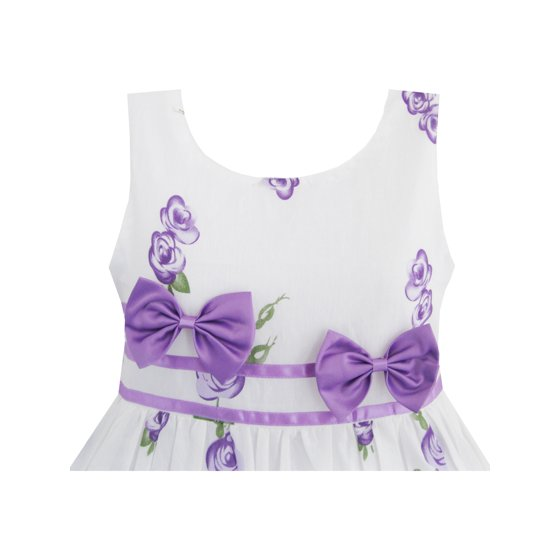 4ad7bf847fc Sunny Fashion - Girls Dress Purple Rose Flower Double Bow Tie Party ...