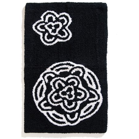 Chrysanthemum Bath Rug Black And White