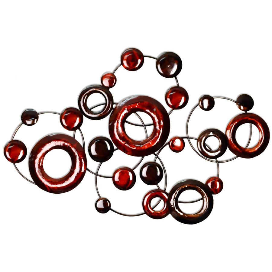 Stratton Home Decor Red Metallic Circles Wall Decor by Stratton Home Decor