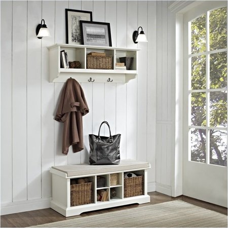 - Pemberly Row 2 Piece Entryway Bench and Shelf Set in White