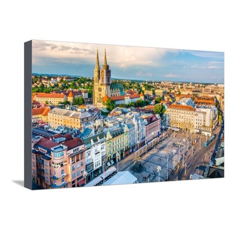 Aerial View at Capital Town of Croatia, Zagreb City Main Square, Europe. / Zagreb Aerial Cityscape Stretched Canvas Print Wall Art By dreamer4787