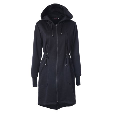 Women Winter Zipper Hoodie Long Jacket Sweatshirt Coat Casual Trench Outwear