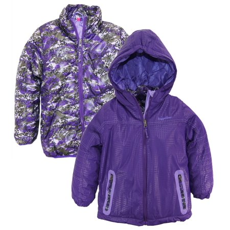 Rugged Bear Little Girls 2-in-1 System Winter Coat Hooded Camo Cheetah Quilted Jacket size 4 for $<!---->