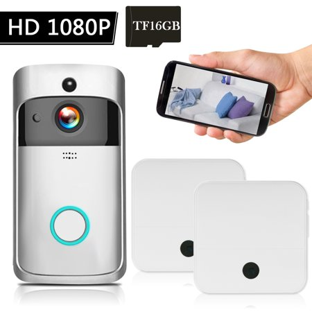 WiFi Smart Wireless Security DoorBell Smart HD 1080P Visual Intercom Recording Video Door Phone Remote Home Monitoring Night Vision Built-in 16G TF Card with 2pcs Doorbell Chime