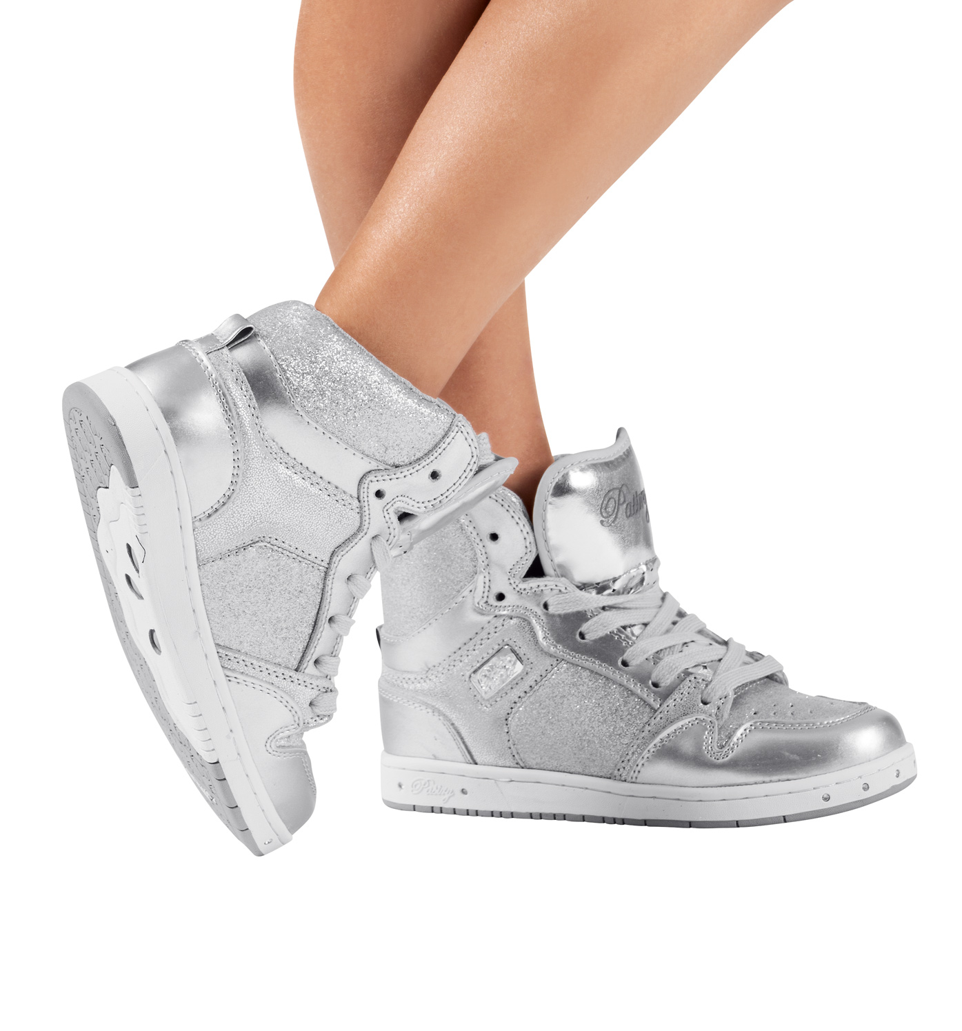 """Pastry Adult """"Glam Pie"""" Glitter Silver Sneakers"""