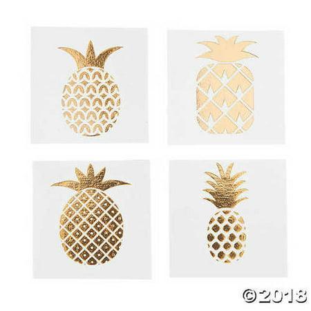 Gold Foil Pineapple Tattoo Assortment - Gold Foil Tattoo