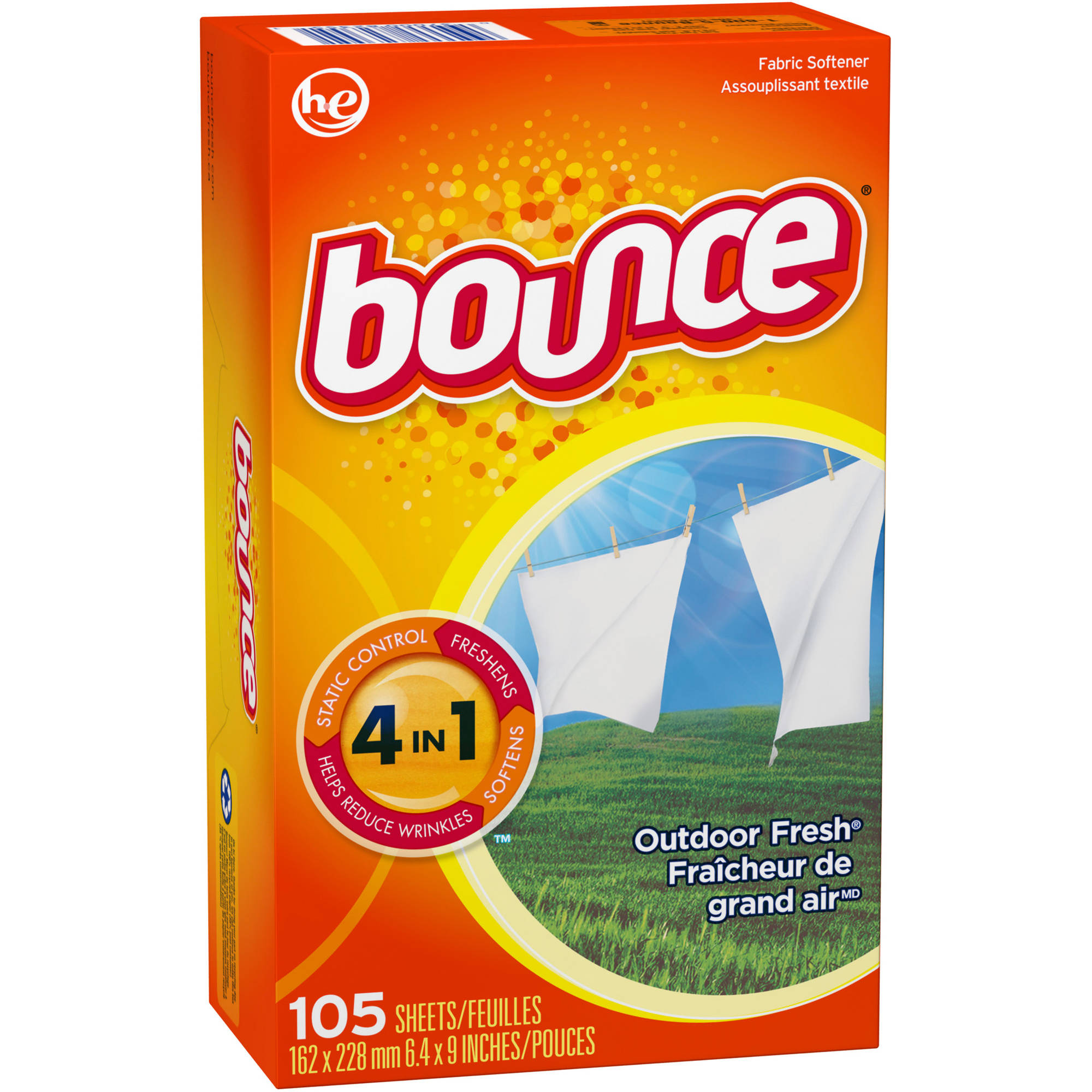 Bounce Outdoor Fresh Fabric Softener Dryer Sheets (Choose your count)