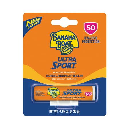 Teen With Banana (Banana Boat Ultra Sport Sunscreen Lip Balm SPF 50, 0.15 Oz, Packaging May)