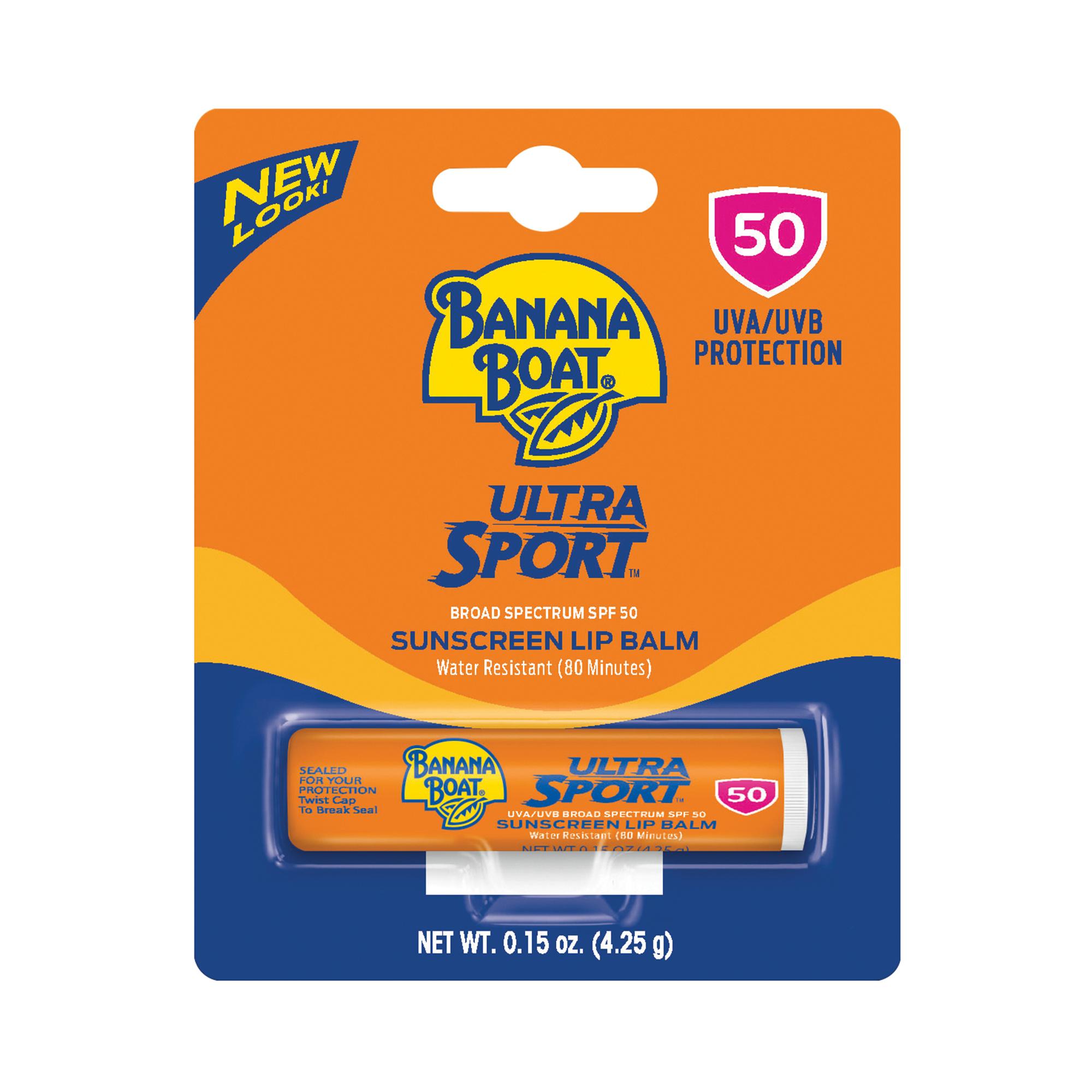 Banana Boat Ultra Sport Sunscreen Lip Balm SPF 50, 0.15 Oz, Packaging May Vary