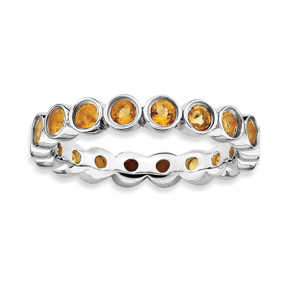 925 Sterling Silver Bezel Set 12-Stone Round Fluted Citrine Ring by gemaffair