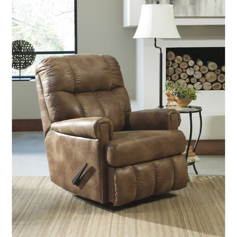 ashley chipster faux leather rocker recliner in almond - Leather Rocker Recliner