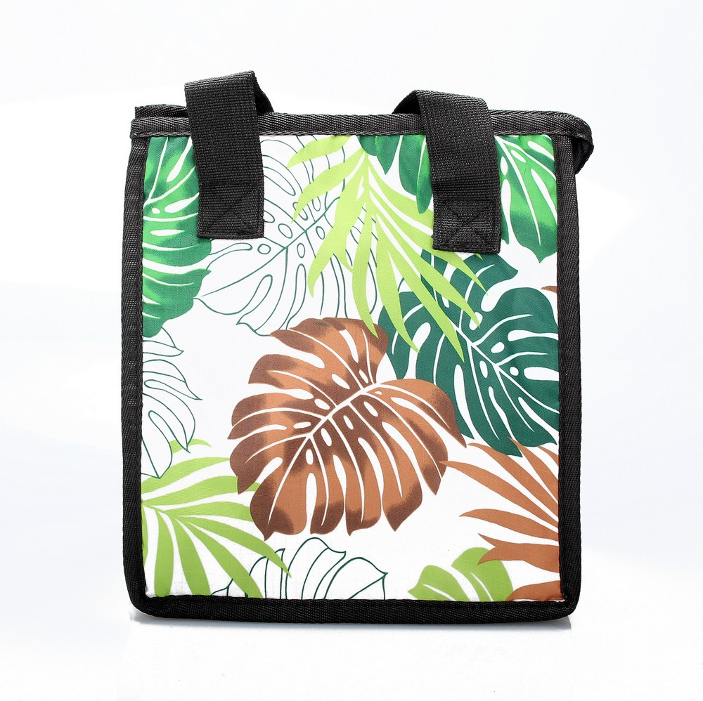 Hawaiian Print Thermal Insulated Zipper Lunch Bag Bread Tree Leaves in Green