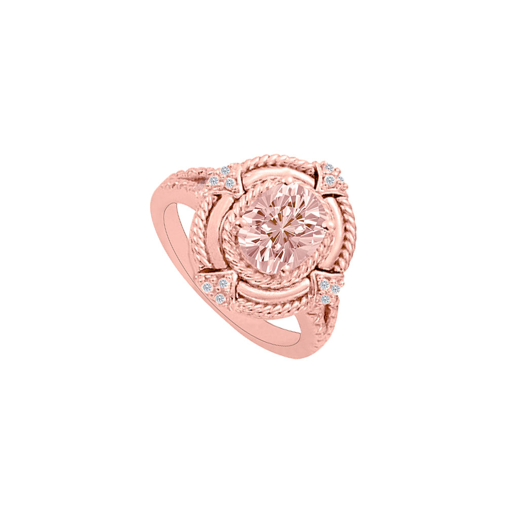 Morganite with Cubic Zirconia Aesthetic Rose Gold Ring - image 2 de 2