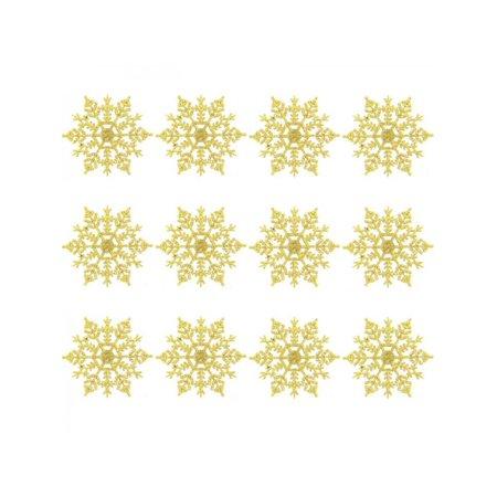 VICOODA Christmas Ornaments Plastic Glitter Snowflakes 4 Inch Christmas Tree Wreath Making Decorations 12 PCS ()