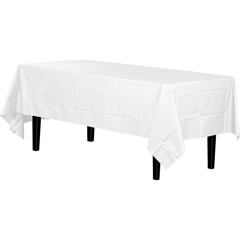 Disposable White Plastic Tablecloth Cover Heavy Duty Plastic Rectangle Tablecloth 54 X 108 1ct Walmart Com Walmart Com
