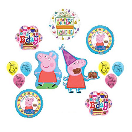 Peppa Pig Pink Birthday Party Supplies and Balloon Bouquet Decorations kit - Peppa Pig Birthday Supplies
