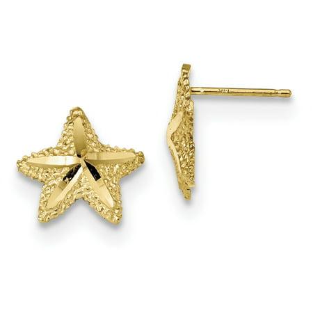 14k Yellow Gold Starfish Post Stud Ball Button Earrings Animal Sea Life For Women Gift Set Yellow Sea Animal