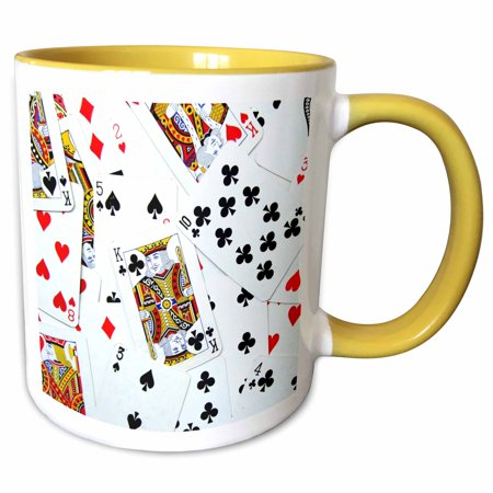 3dRose Scattered playing cards photo - for card game players eg poker bridge games casino las vegas night - Two Tone Yellow Mug, 11-ounce