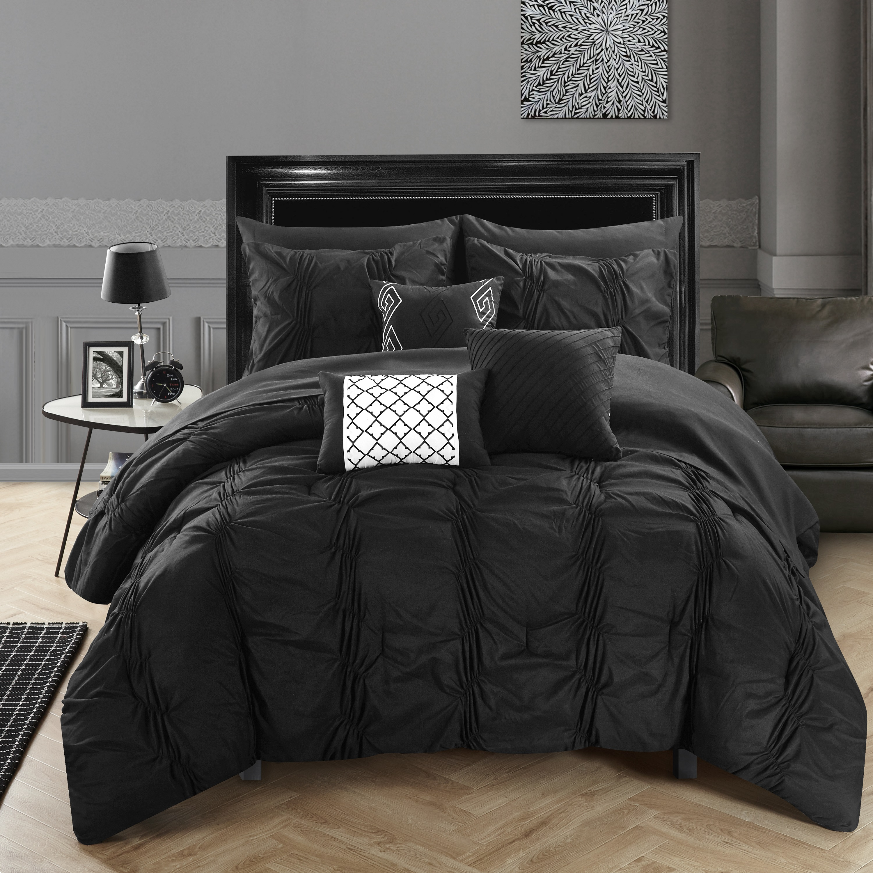 Chic Home 10-Piece Luna Pinch Pleated, ruffled and pleated complete Queen Bed In a Bag Comforter Set Black Sheets set and Decorative pillows included