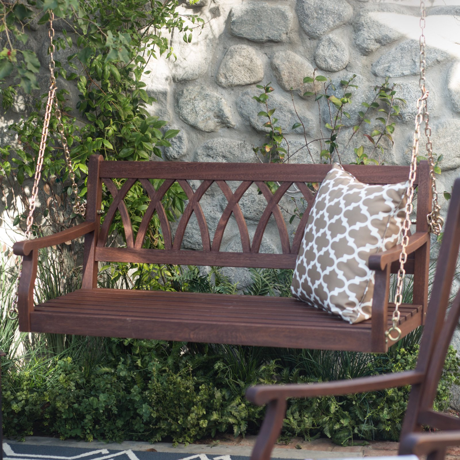 Belham Living Ashbury 4 ft. Wood Porch Swing Dark Brown by