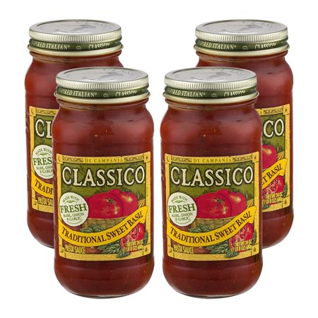 (4 Pack) Classico Traditional Sweet Basil Pasta Sauce, 24 oz