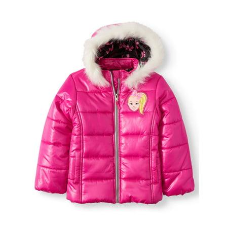 JoJo Siwa Puffer Ski Jacket with Fur Trim Hood (Little (Guess Faux Fur Trim Hooded Puffer Coat)