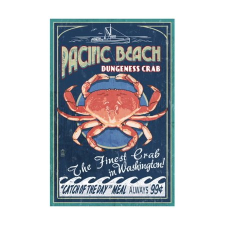 Pacific Beach, Washington - Dungeness Crab Vintage Sign Print Wall Art By Lantern (Cooking Dungeness Crab)