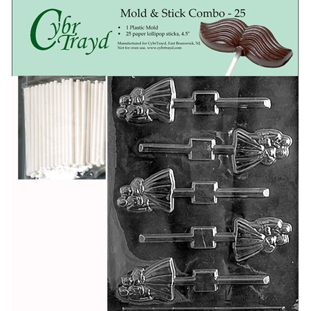 Cybrtrayd 45St25-W024 Bride and Groom Lolly Wedding Chocolate Candy Mold with 25-Pack 4.5-Inch Lollipop Sticks Bride And Groom Candy Molds
