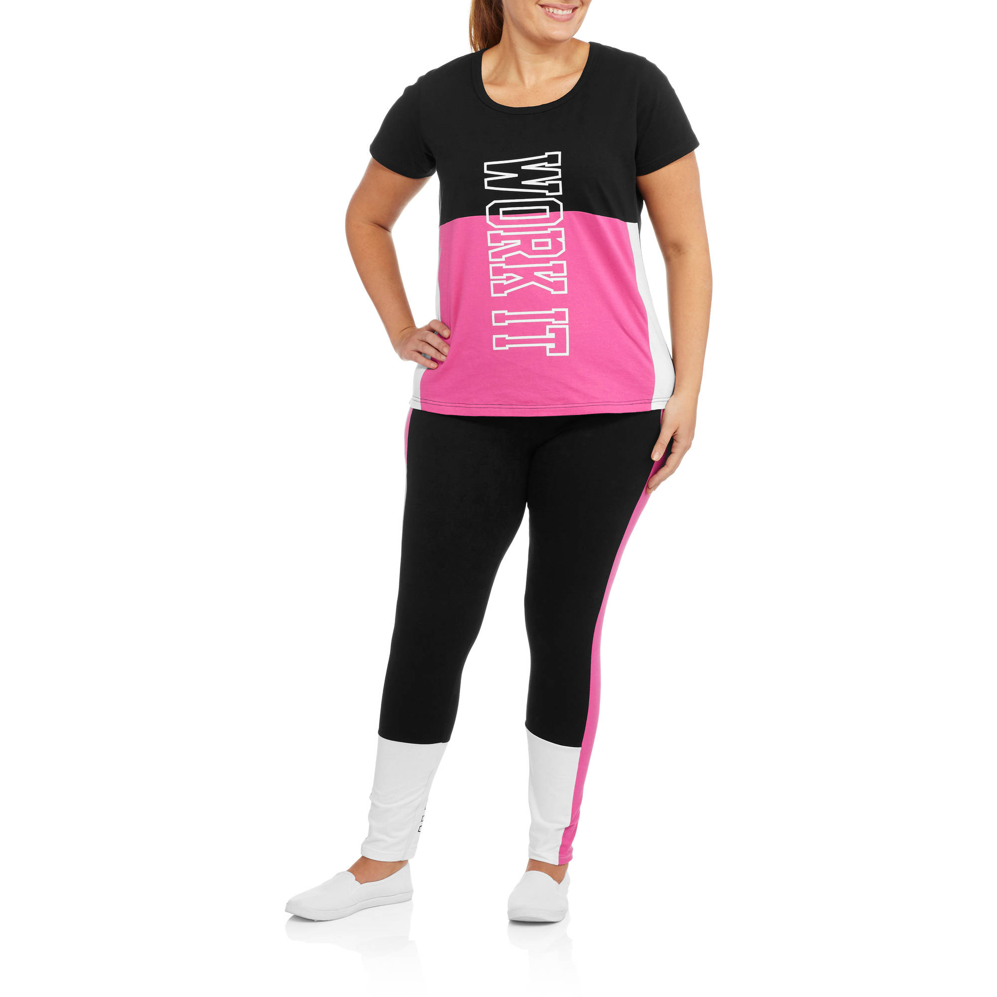"Women's Plus Fitspiration ""Work It"" Active T-Shirt and Colorblock Leggings Set"