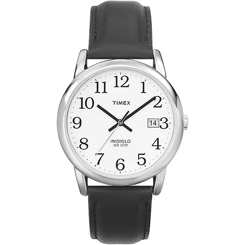 Timex Men's Easy Reader Watch, Black Leather Strap