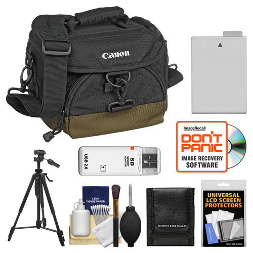 Canon 100EG Digital SLR Camera Case Gadget Bag + LP-E8 Battery + Tripod + Accessory Kit for Rebel T2i, T3i, T4i & T5i