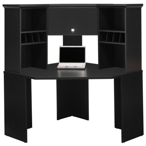 Bush Stockport Hutch For Corner Computer Desk Black